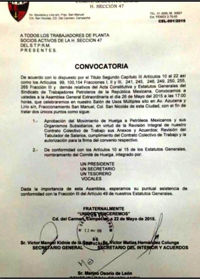 ConvocatoriaExtraordinariaSTPRM